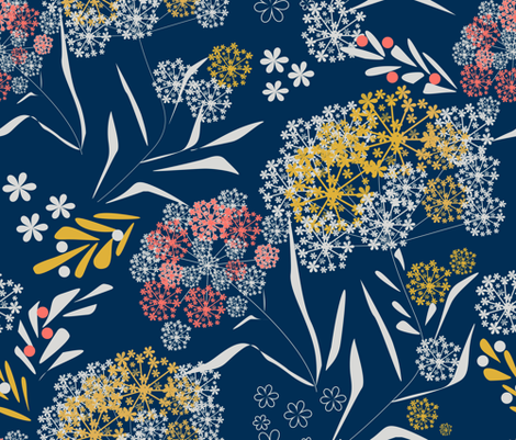 Retro flowers floral small pattern dark navy colors fabric by fuzzyfox on Spoonflower - custom fabric