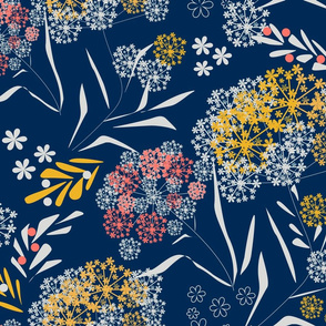 Retro flowers floral small pattern dark navy colors