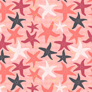 Sea Stars on Scallop Background - Multi Coral and Raspberry and Grey with Yellow Highlights