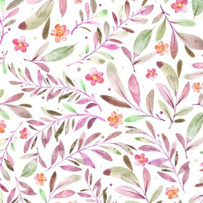 Watercolor Flowers & Branches in Greens, Purples and Pinks, SCALE C