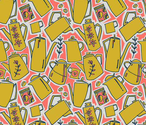 A proper cup of coffee - Coral - golden rod - midnight blue - gray  fabric by moirarae on Spoonflower - custom fabric