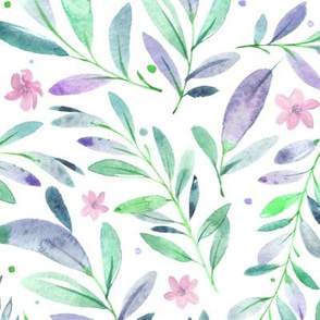 Watercolor Flowers & Branches in Greens,Purples and Pinks, SCALE B
