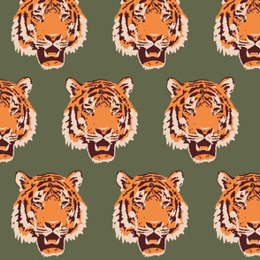 Timothy the Tiger on forest green