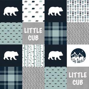 Little Cub - Wholecloth Quilt - Woodland Patchwork Top - WWCQ1