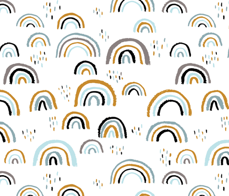 Rainbow love Scandinavian abstract rainbow clouds happy rain sky gender neutral blue JUMBO fabric by littlesmilemakers on Spoonflower - custom fabric