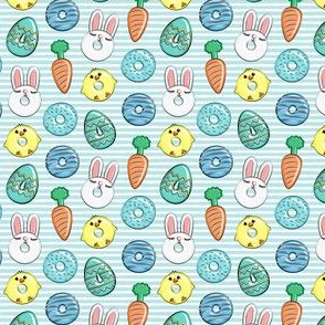 (micro scale) easter donuts - bunnies, chicks, carrots, eggs - easter fabric - blue on blue stripes LAD19BS