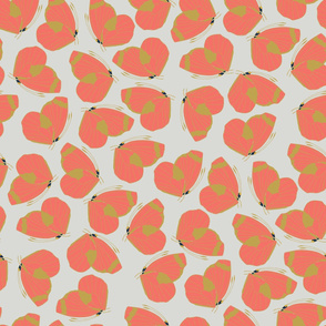 Butterfly Diva (Coral & Yellow Grey) - large pattern