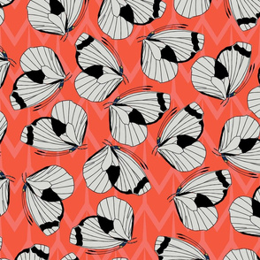 Papillon (Coral & Black) - large pattern