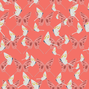 Butterfly Spirit (Grey on Pinks) - Large pattern