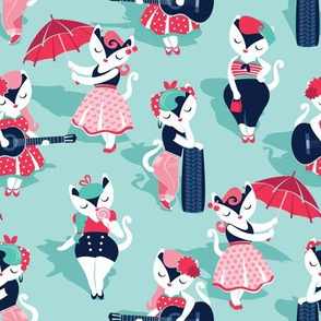 Rockabilly cats // small scale // aqua background white pin-up cats in fancy red pink and navy blue outfits