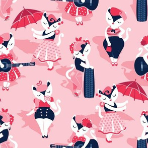 Rockabilly cats // small scale // pink background white pin-up cats in fancy red pink and navy blue outfits