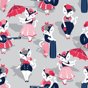 Rockabilly cats // small scale // grey background white pin-up cats in fancy red pink and navy blue outfits