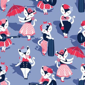 Rockabilly cats // small scale // indigo blue background white pin-up cats in fancy red pink and navy blue outfits