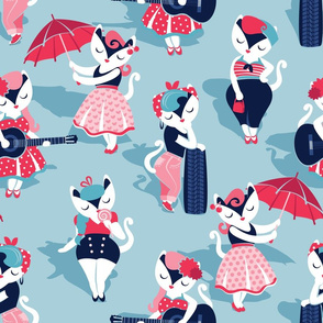 Rockabilly cats // normal scale // pastel blue background white pin-up cats in fancy red pink and navy blue outfits