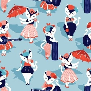Rockabilly cats // small scale // pastel blue background white pin-up cats in fancy orange and navy blue outfits