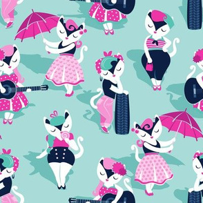Rockabilly cats // small scale // aqua blue background white pin-up cats in fancy pink and navy blue outfits