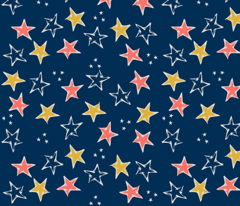 Limited Color Palette Stars  fabric by mamasbrush on Spoonflower - custom fabric
