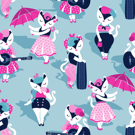 Rockabilly Cats Small Scale Pastel Blue Background