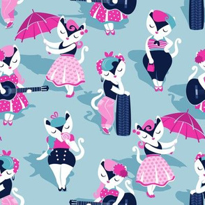 Rockabilly cats // small scale // pastel blue background white pin-up cats in fancy pink and navy blue outfits