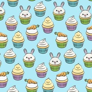 (small scale) Easter cupcakes - bunny chicks carrots spring sweets - blue LAD19BS