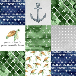 Sea Turtle//Sailboat - Wholecloth Cheater Quilt