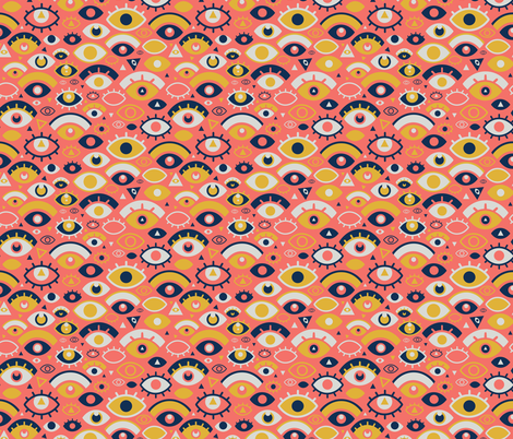 Eyes Over Coral fabric by miranema on Spoonflower - custom fabric