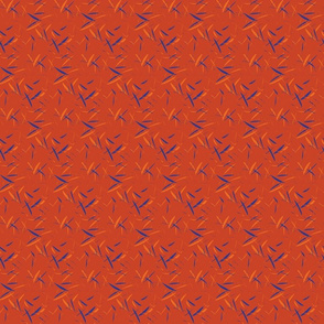 geometric blue, red, and orange