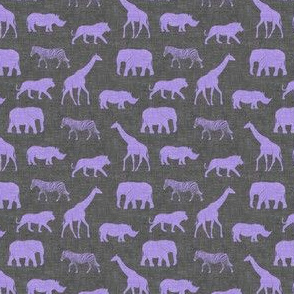 (small scale) Safari animals - purple on grey - elephant, giraffe, rhino, zebra C19BS