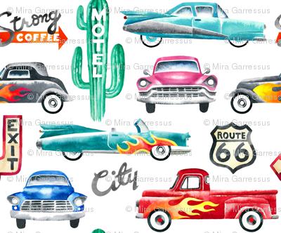 watercolor rockabilly cars