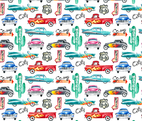 watercolor rockabilly cars fabric by mirabelleprint on Spoonflower - custom fabric