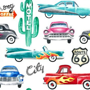 watercolor rockabilly cars