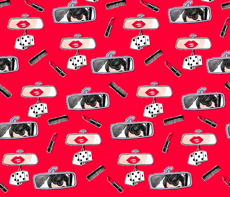 Rockabilly Rearview fabric by snarkhearted on Spoonflower - custom fabric