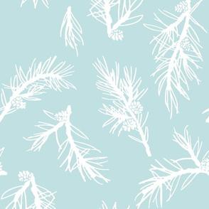 Christmas Winter Shortleaf Pine Blue Background