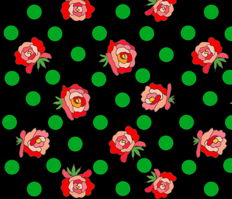 Rockabilly Roses on black  fabric by ruthjohanna on Spoonflower - custom fabric