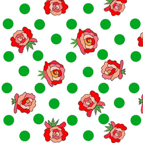 Rockabilly roses on nice white with leaves-ch