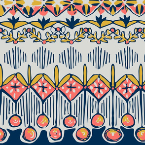 Regency Inspired Midcentury Fair Isle - Living Coral 2019