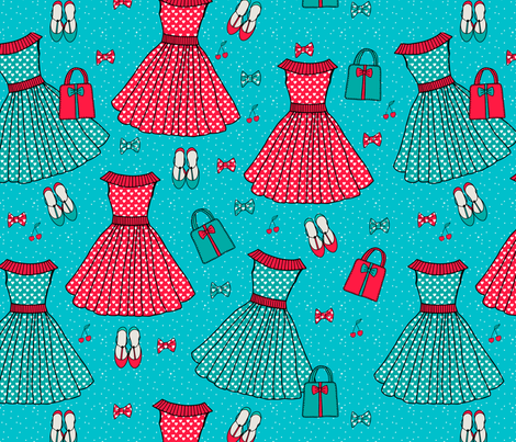 Rocabilly outfit design fabric by leffka on Spoonflower - custom fabric