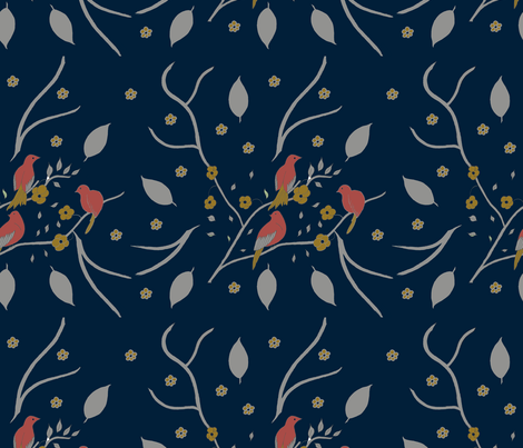Coral Birds fabric by carmen_ray_anderson on Spoonflower - custom fabric