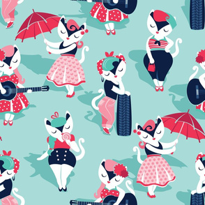 Rockabilly cats // normal scale // aqua background white pin-up cats in fancy red pink and navy blue outfits