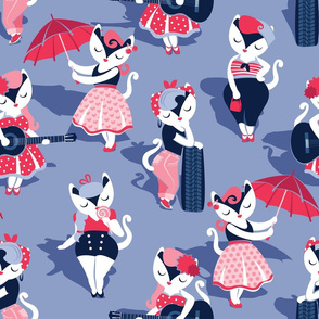 Rockabilly cats // normal scale // indigo blue background white pin-up cats in fancy red pink and navy blue outfits