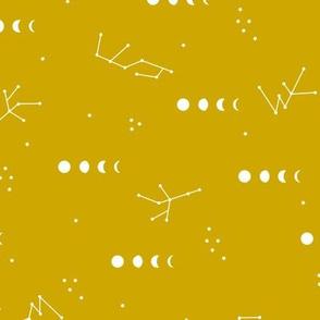 Moon phase constellation galaxy universe zodiac design night stars in trend colors winter fall mustard yellow