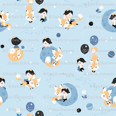 The Little Prince and The Fox  - SMALL - light blue and gold