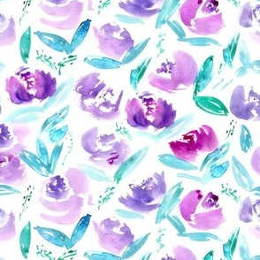 'Thea' in purple || watercolor floral pattern