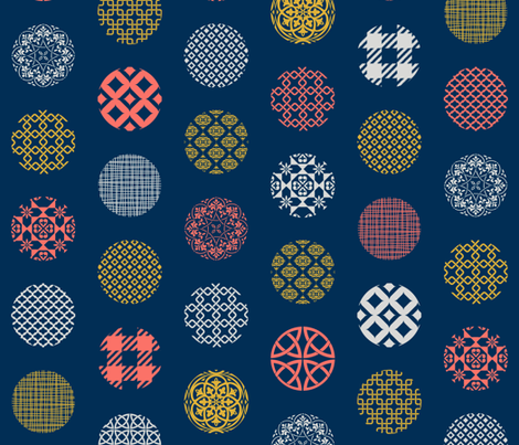 Ornament Dots Living Coral Limited  fabric by delinda_graphic_studio on Spoonflower - custom fabric