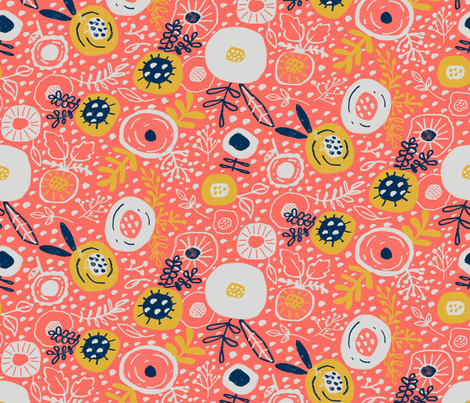 Meadowland_coral fabric by bridgettstahlman on Spoonflower - custom fabric