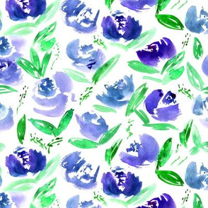 'Thea' in indigo || watercolor florals