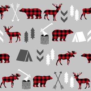 buffalo plaid woodland moose deer bear forest woodland trees camping canada kids - grey