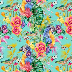 Small PARROT TROPICAL LUXURIANCE AQUA BLUE TURQUOISE BIRDS FLOWERS BUTTERFLIES watercolor