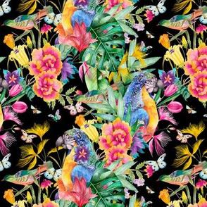 small PARROT TROPICAL LUXURIANCE BLACK BIRDS FLOWERS BUTTERFLIES watercolor