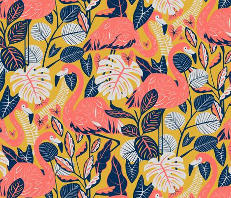 coral gables flamingo  fabric by michaelzindell on Spoonflower - custom fabric